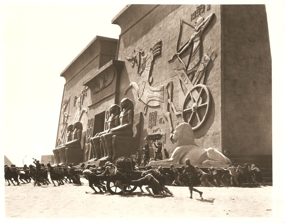 Photo still from The Ten Commandments, 1923. At the time it was the largest set ever built , for the most expensive movie ever made.