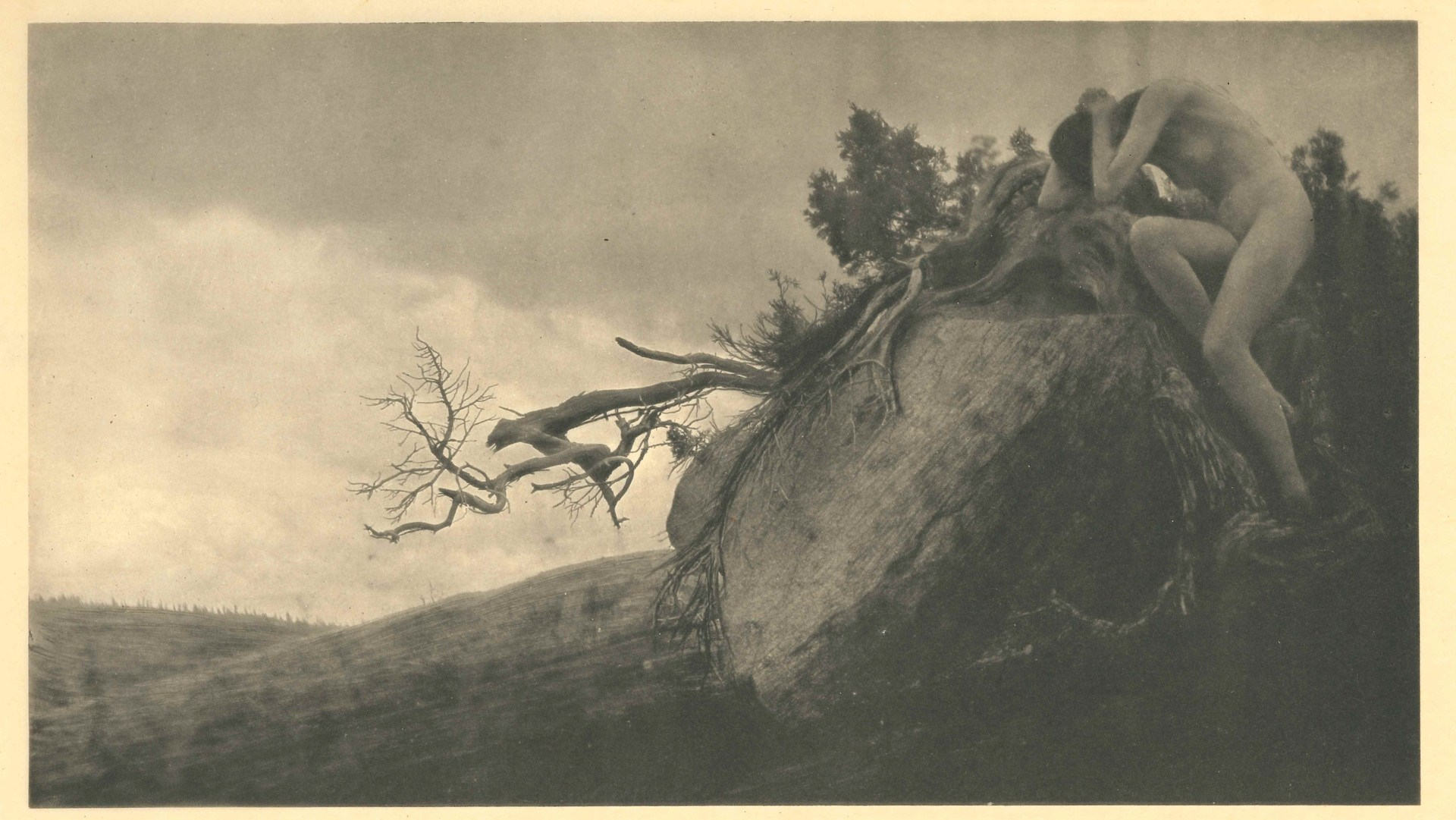 "Anne Brigman, 'Finis,' 1912. Photogravure From Camera Work No. 38. ""It wasn't a sexualized or objectified body,"" says Marianne McGrath, curator at New Museum Los Gatos. ""It was a powerful body, just as strong as a tall, mighty tree or the mountains."""