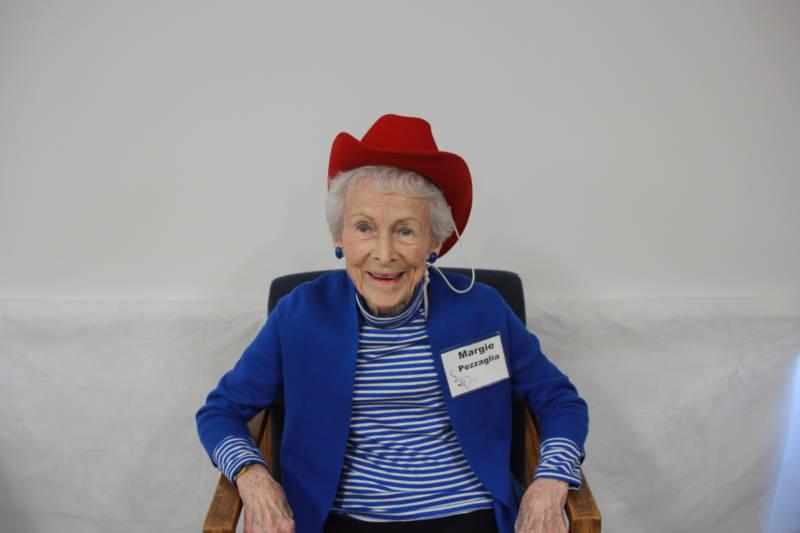 Margie Pezzaglia, 95, having a blast at the Ashby Village tea.