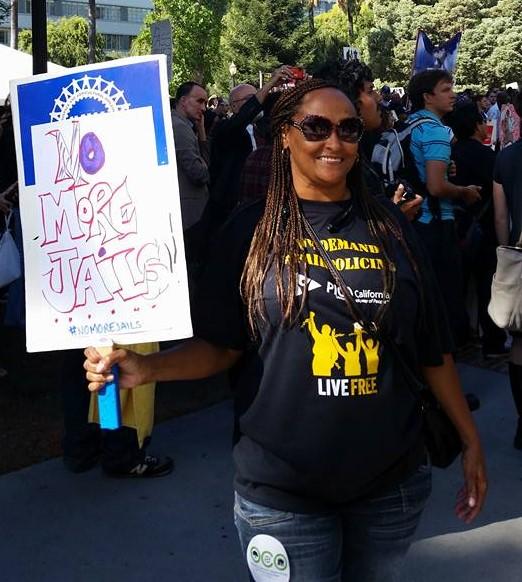 Sholonda Jackson-Jasper protesting against jail expansion in Alameda County.