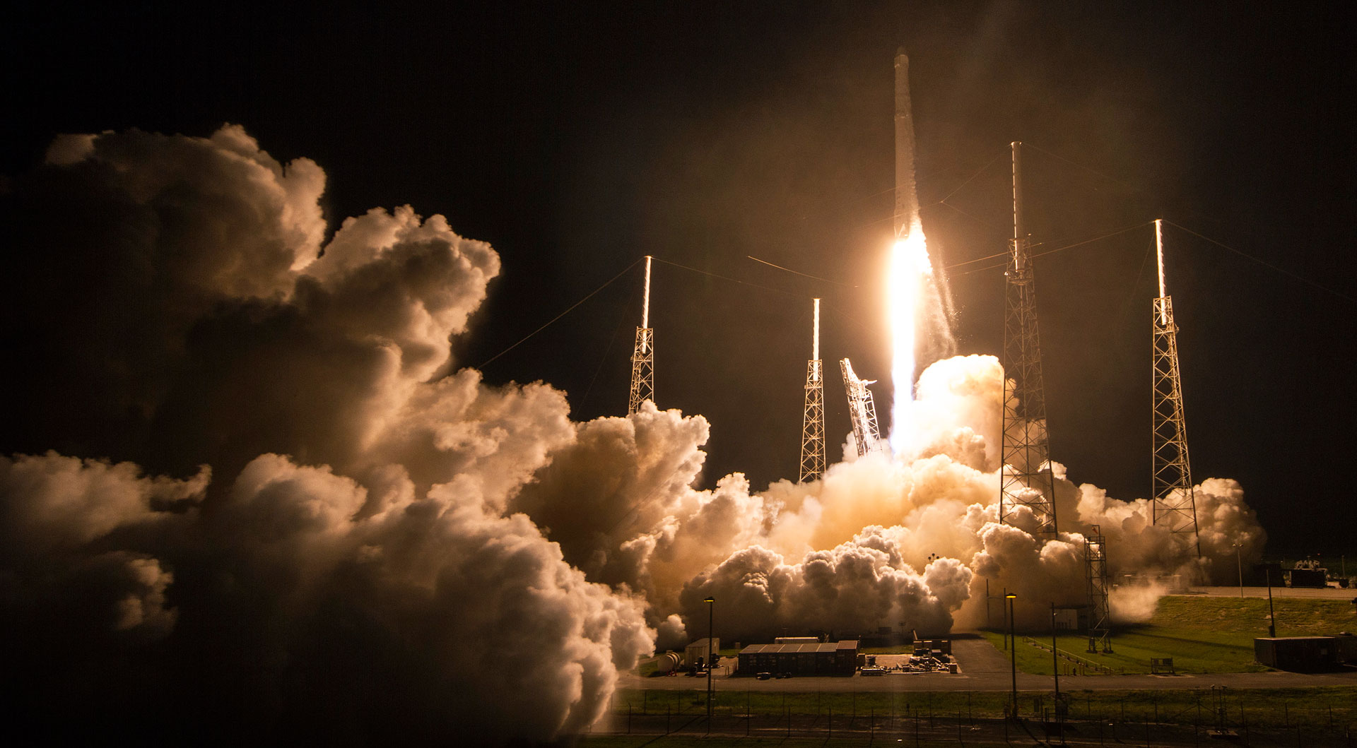 SpaceX's Dragon cargo craft launched early Monday on a Falcon 9 rocket from Space Launch Complex 40 at Cape Canaveral Air Force Station in Florida.