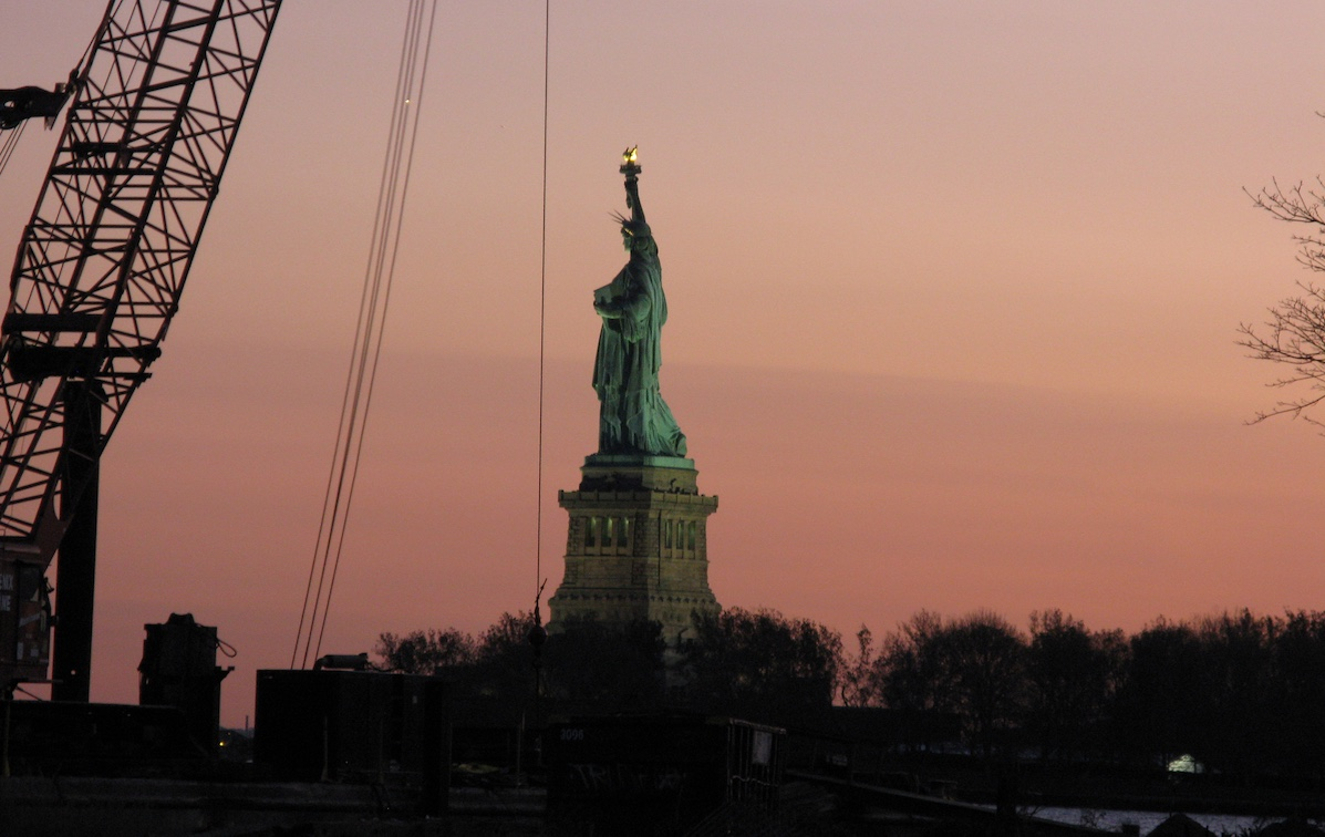 The Statue of Liberty's torch, relit for the first time a week after Hurricane Sandy. (