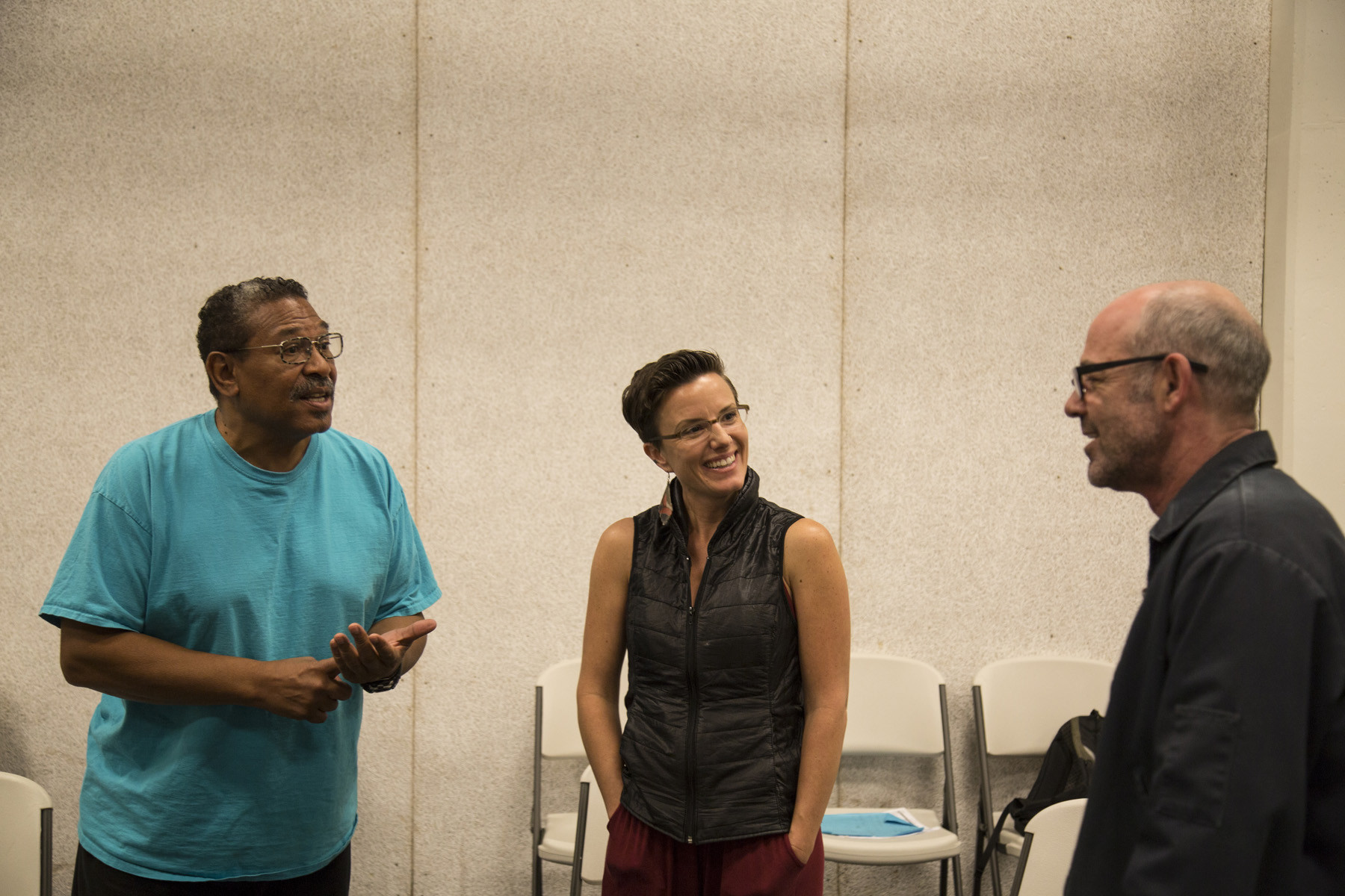 "Actor Steven Anthony, Sarah Shourd and actor Clive Worsley at a rehearsal for ""The Box."""