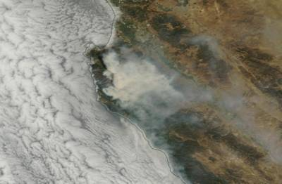 Satellite image Thursday, July 28, of smoke emitted from Soberanes Fire in Monterey County.