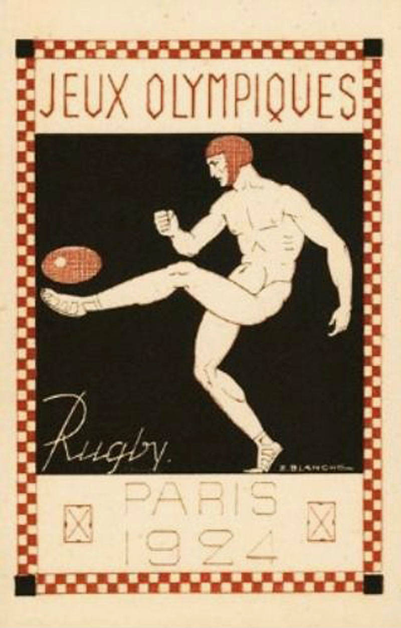 A poster promoting rugby from the 1924 Paris Olympics.