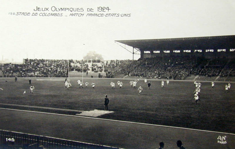 A scene from the 1924 gold medal rugby match between France and the U.S.