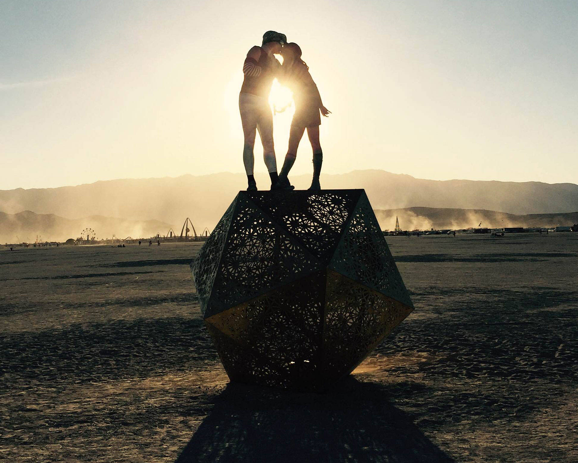 April Dembosky and her husband at Burning Man, 2015.  Courtesy of April Dembosky