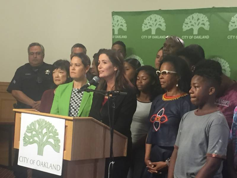 Oakland City Administrator Sabrina Landreth and Mayor Libby Schaaf formally announce a national search for a new police chief Monday, Aug. 29.