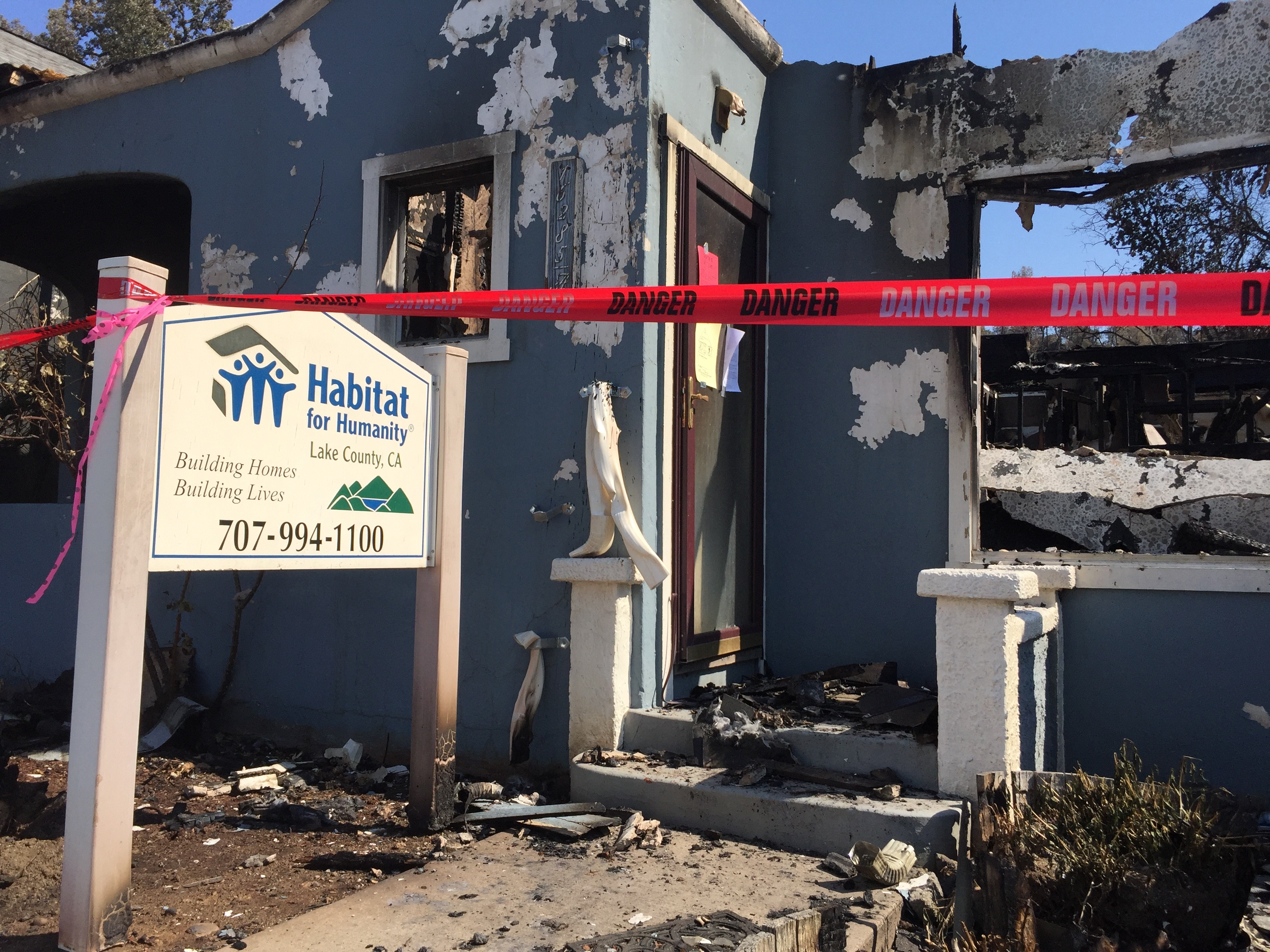 Even the local Habitat for Humanity office was destroyed when the Clayton Fire swept through Lower Lake, in Lake County.