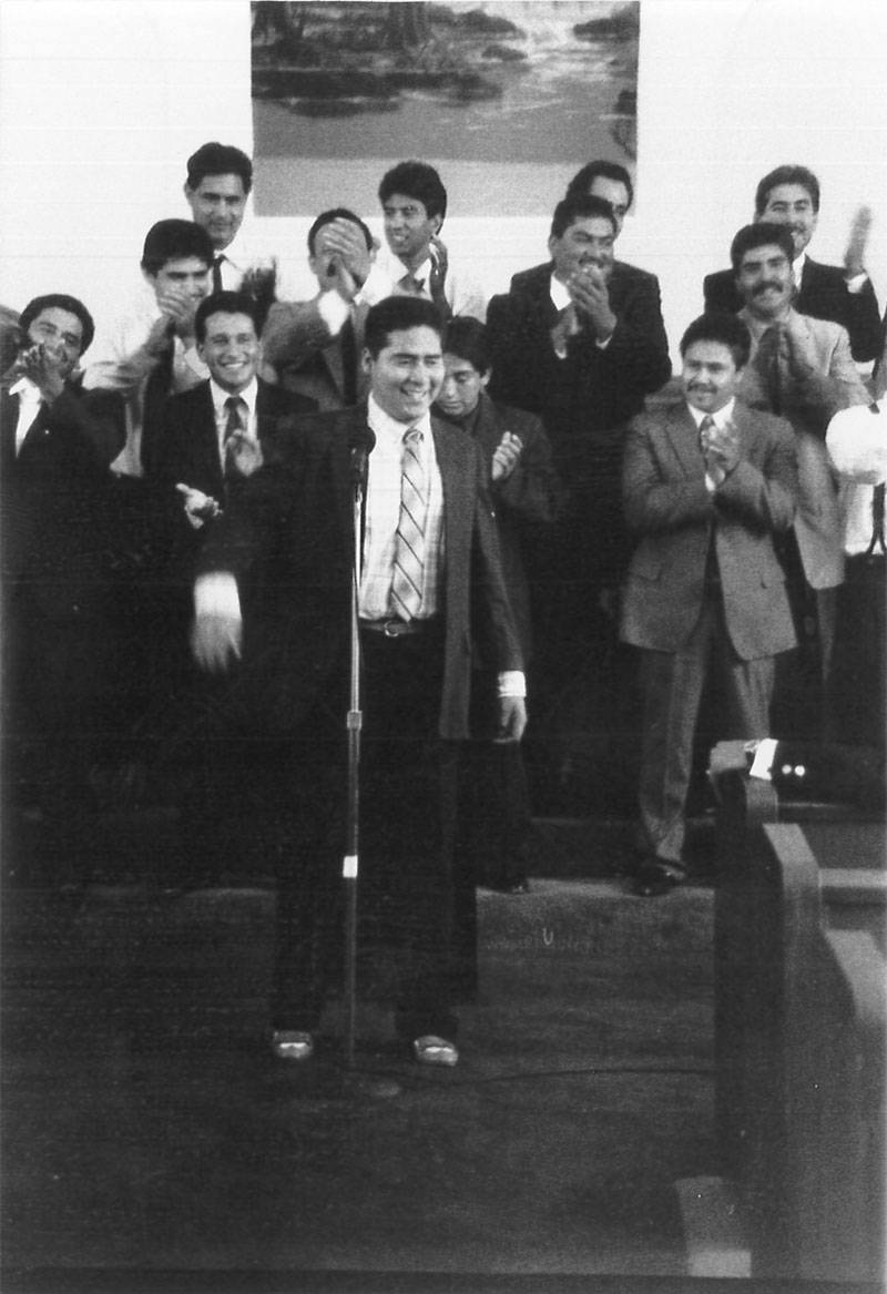 Ruben Nunez sings at a church in National City in 1990.