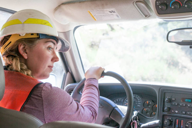 U.S. Forest Service crew member and botanist Paris Krause drives through moderate and high-intensity burn areas one year after the Lake Fire in the San Bernardino National Forest on July 20, 2016.
