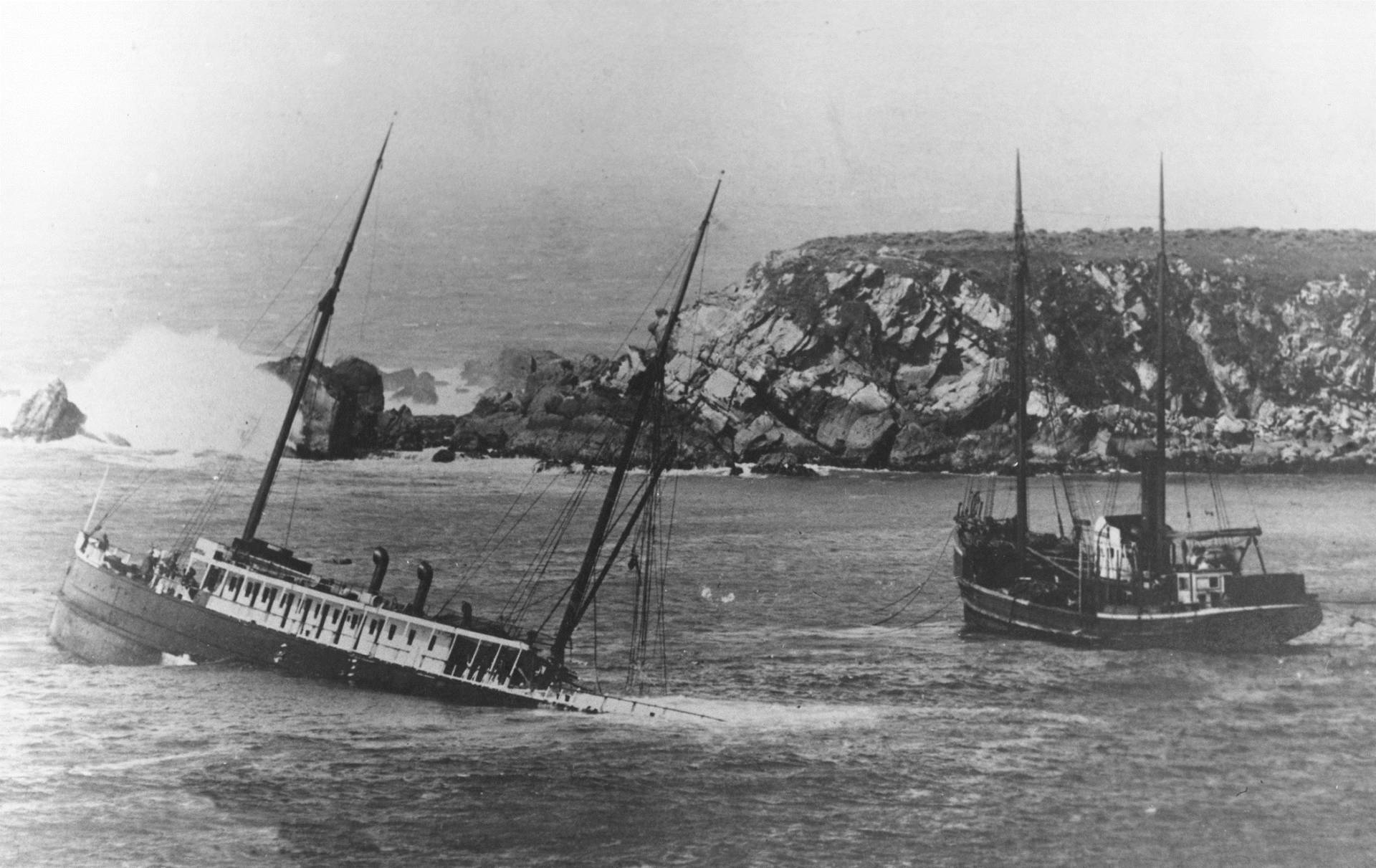 The 225-foot long steel-hulled coastal steamship Pomona sinks off Fort Ross cove on March 17, 1908 after hitting a submerged pinnacle.  Fort Ross Conservancy