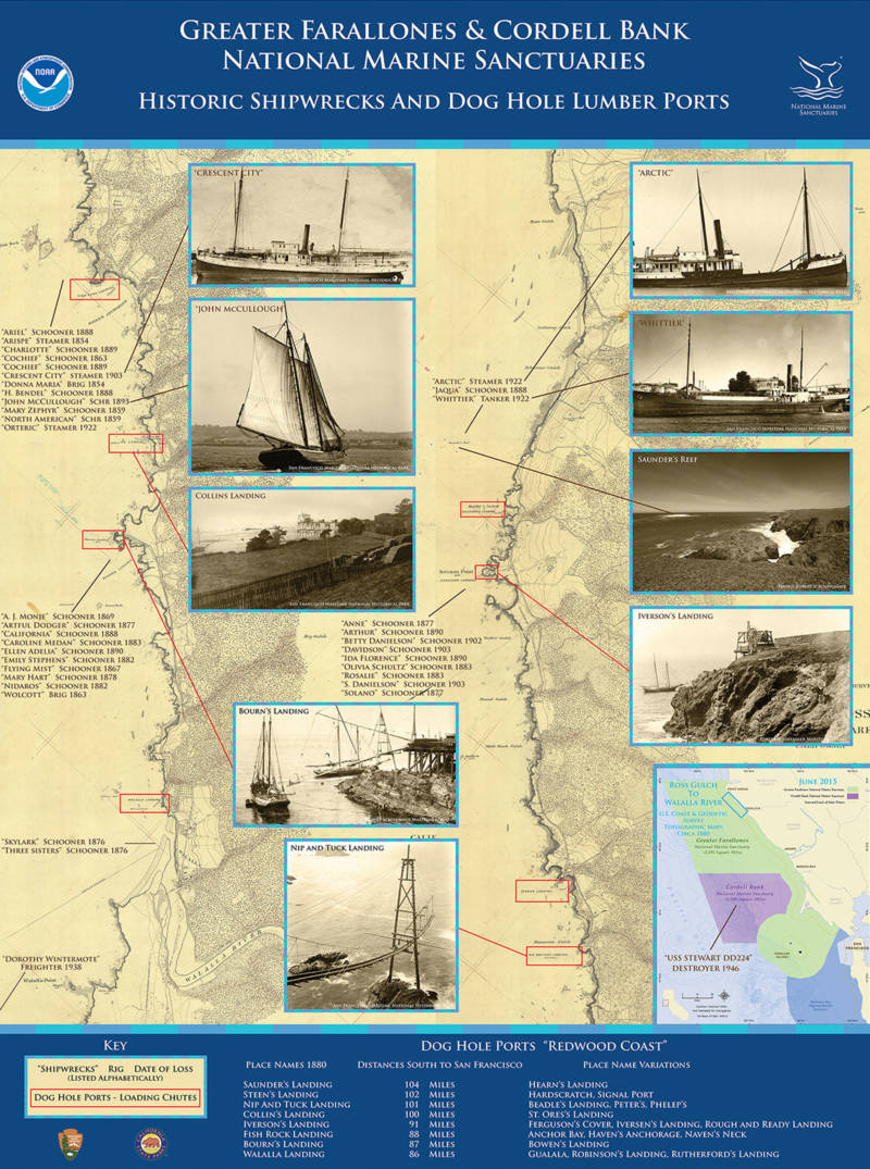 A map of shipwrecks and doghole ports in Cordell Bank and Greater Farallones National Marine Sanctuaries.