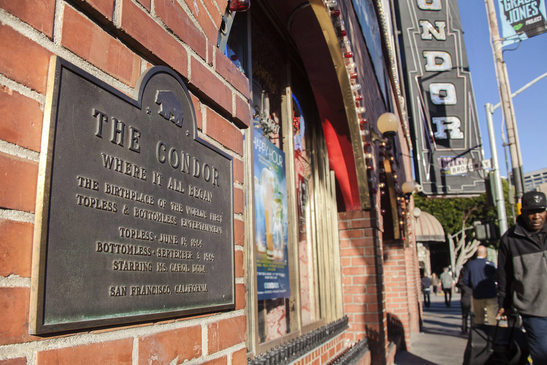 A plaque hangs outside the Condor Club in San Francisco.