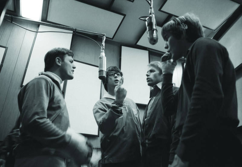The Beach Boys' Bruce Johnston, Brian Wilson, Al Jardine and Dennis Wilson (left to right) recording Pet Sounds.