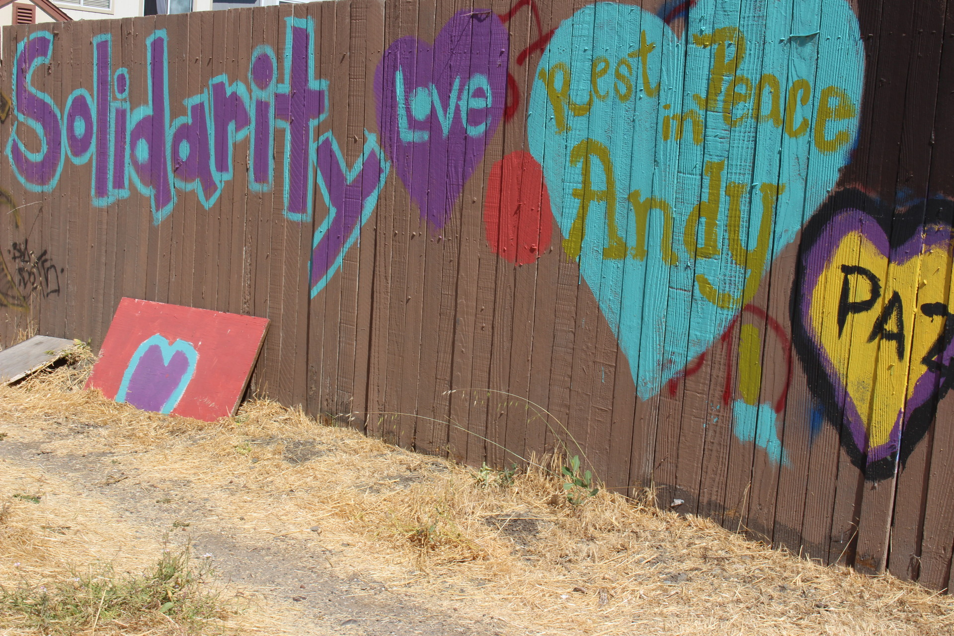 Paintings decorate a fence just feet away from where Andy Lopez died in 2013. Residents lobbied the county to build a park in the now empty lot. Construction of Andy's Unity Park is set to begin in the fall, with design input from residents.