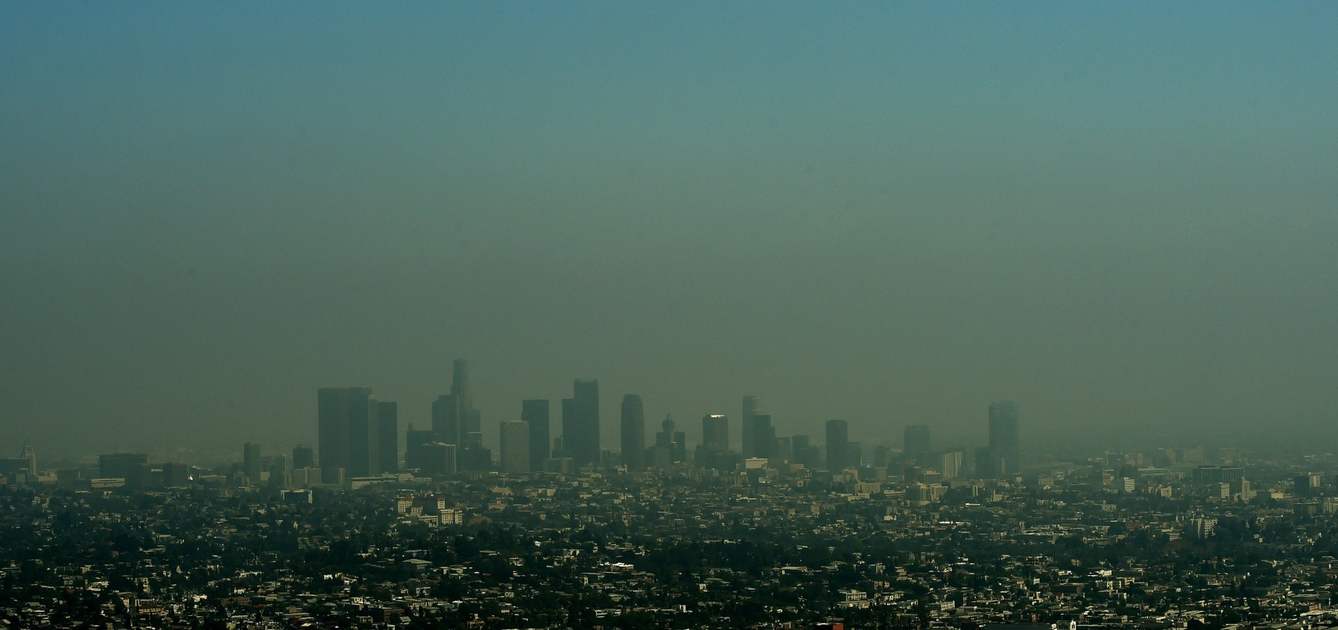 A view of the Los Angeles city skyline as heavy smog shrouds the city in California on May 31, 2015.