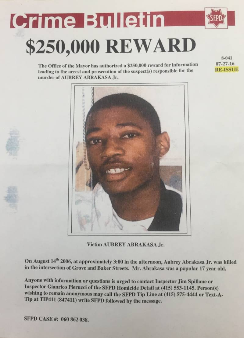 A bulletin announces a $250,000 reward for information leading to arrest and prosecution of suspects responsible for the murder of Aubrey Abrakasa Jr.
