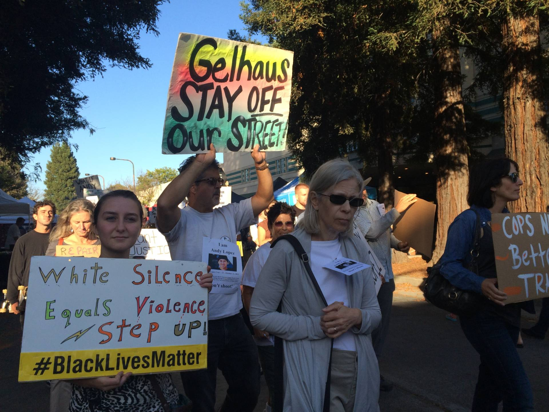 Protesters gather in downtown Santa Rosa on August 10, 2016, just days after news broke that Sonoma County sheriff's deputy Erick Gelhaus had been promoted to sergeant.  Farida Jhabvala Romero/KQED