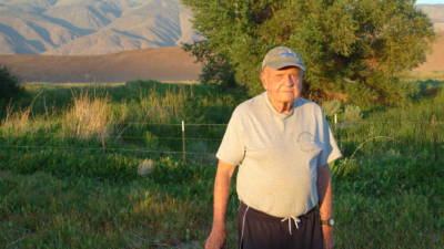 Retired state fish biologist Phil Pister at Fish Slough in the Owens Valley.