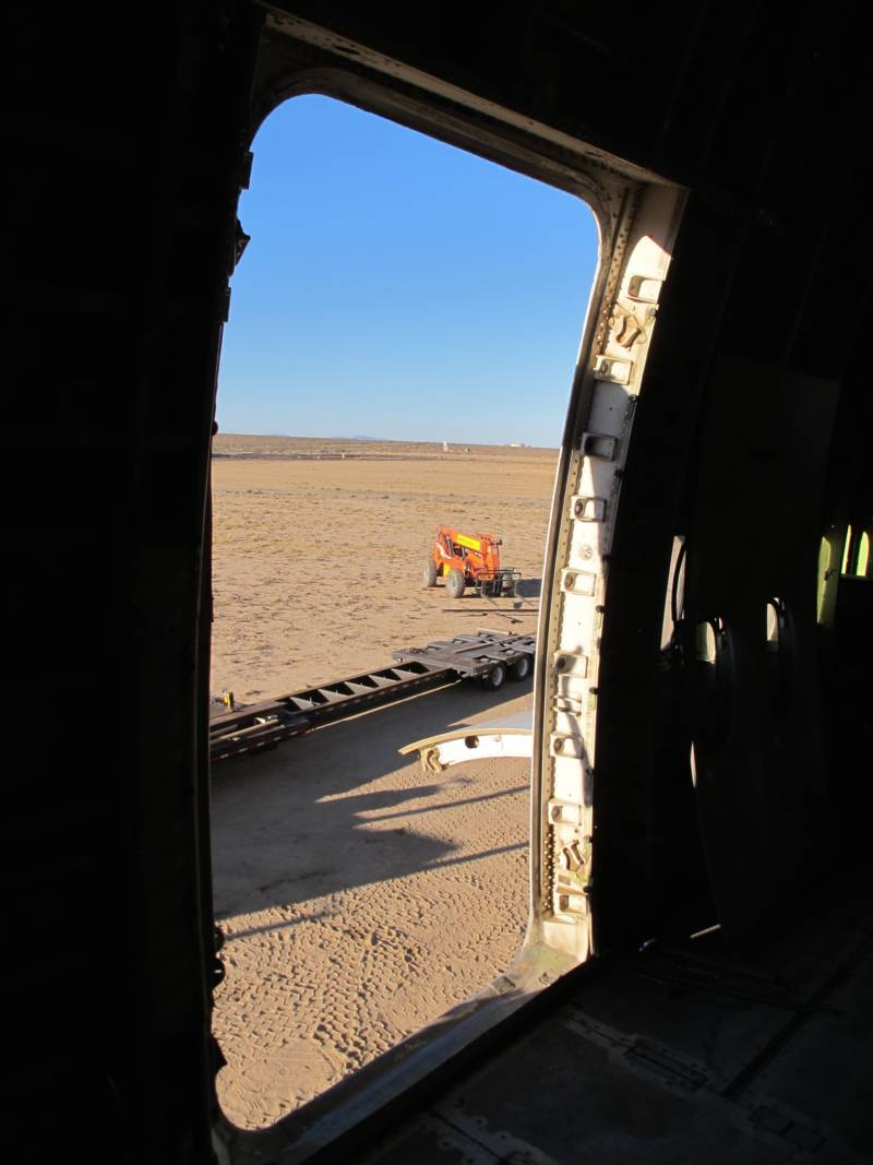 A view of the Mojave Desert from the back of the 747 Project in August 2016, before it was transported to Burning Man.