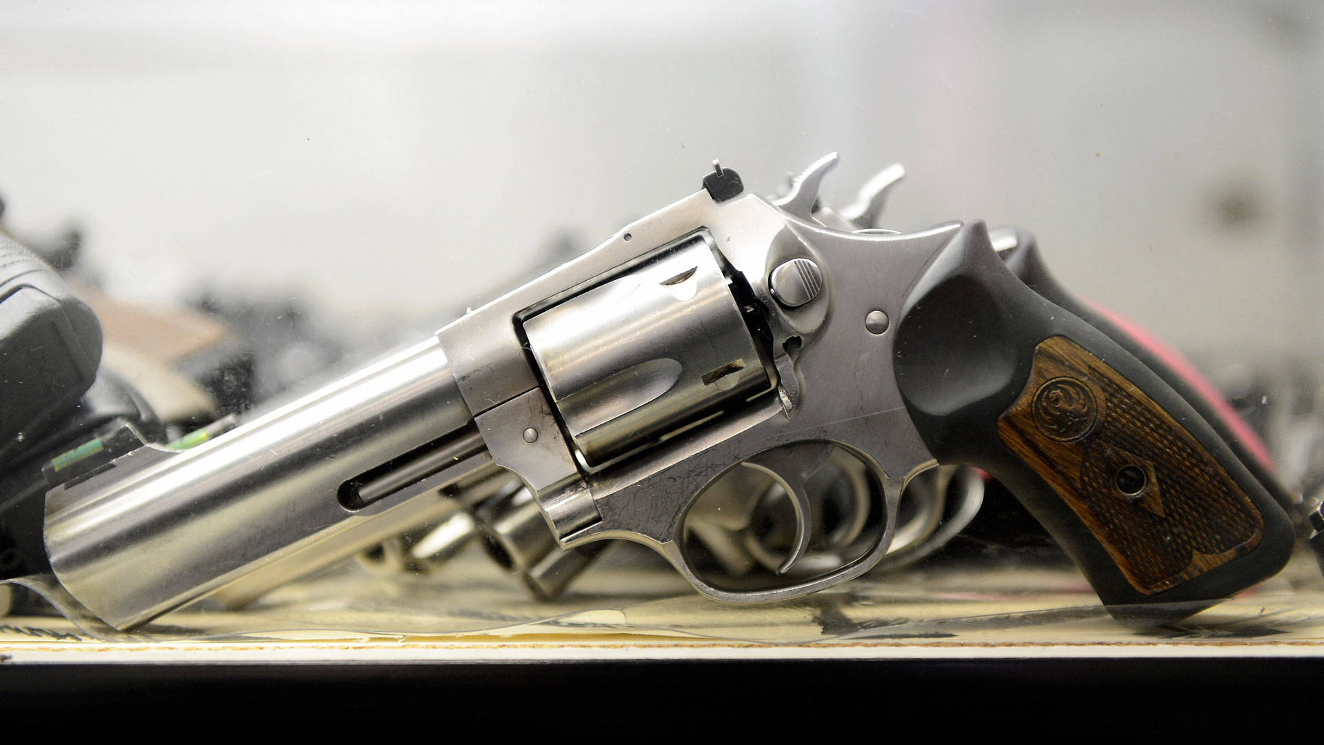 A .357 Magnum revolver on display at the Los Angeles Gun Club. Kevork Djansezian/Getty Images