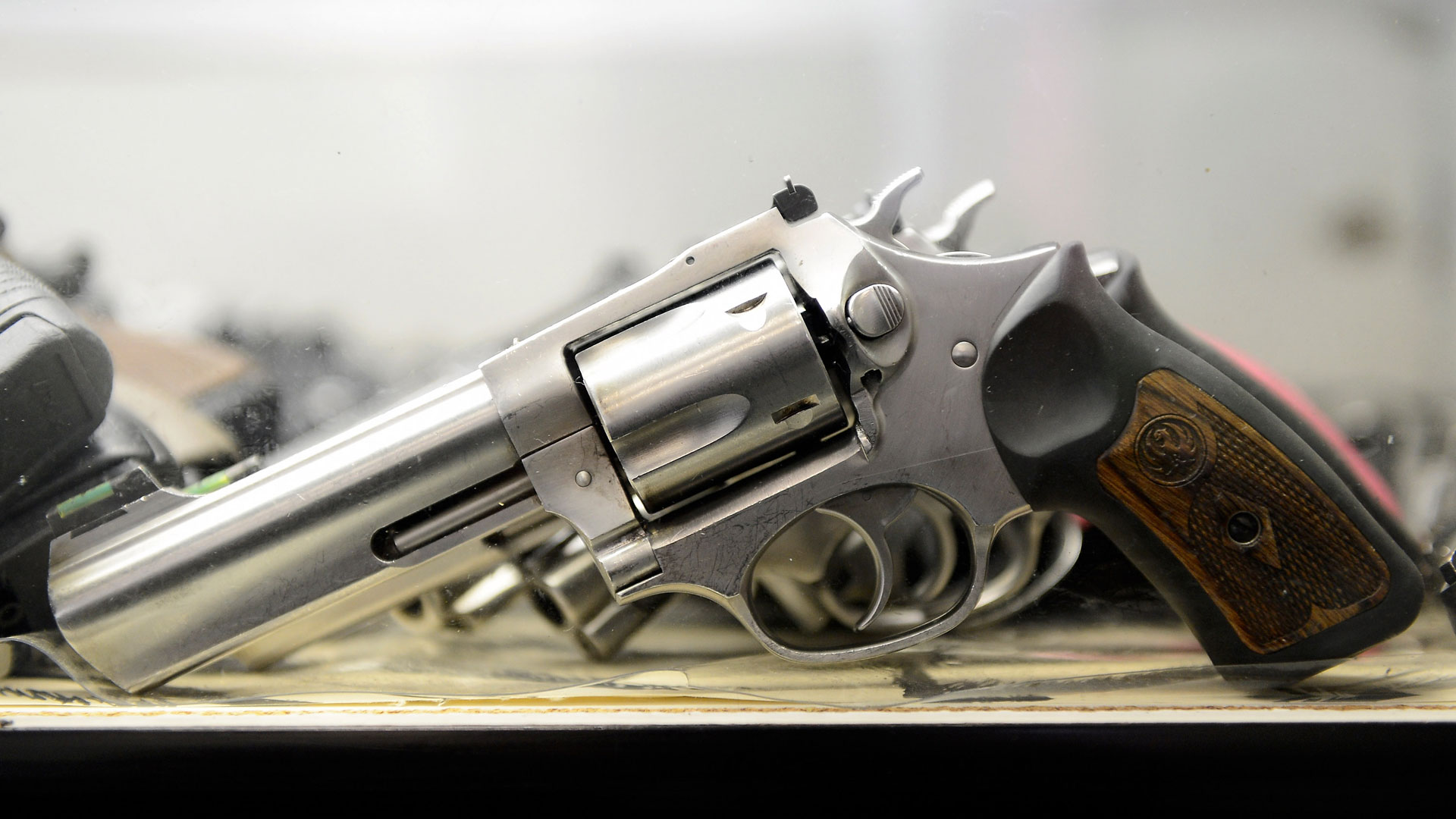 A .357 magnum revolver on display at the Los Angeles Gun Club.