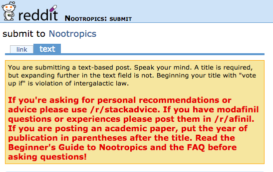 Directions for posting on the nootropics Subreddit