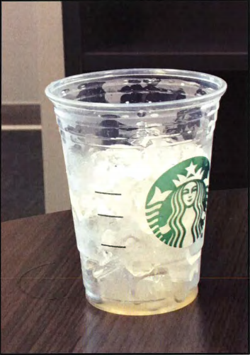 A picture included in a lawsuit alleging Starbucks has defrauded customers by overfilling its cold drinks with ice.