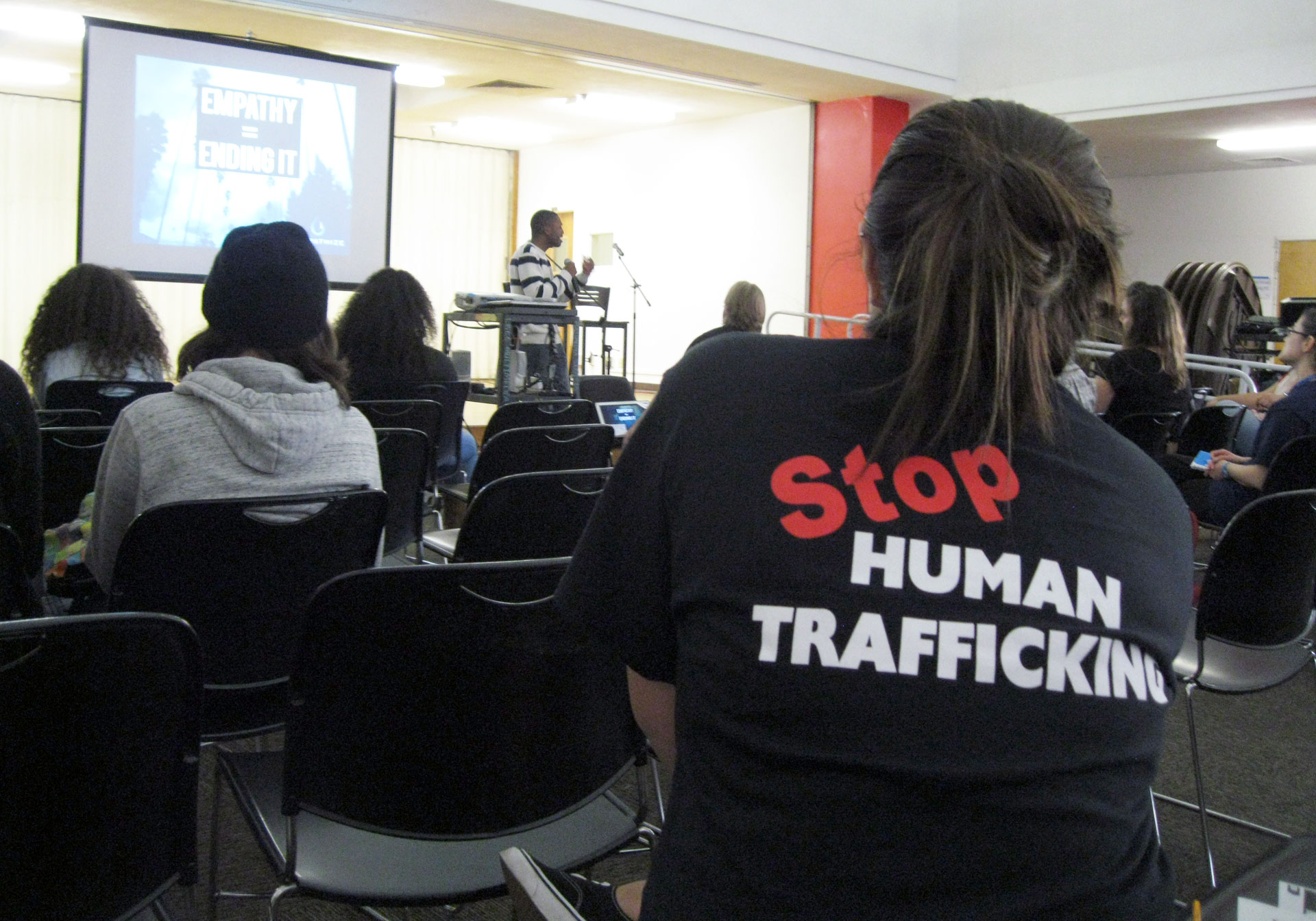 A student wears an anti-human trafficking T-shirt at a recent iEmpathy session in Long Beach.