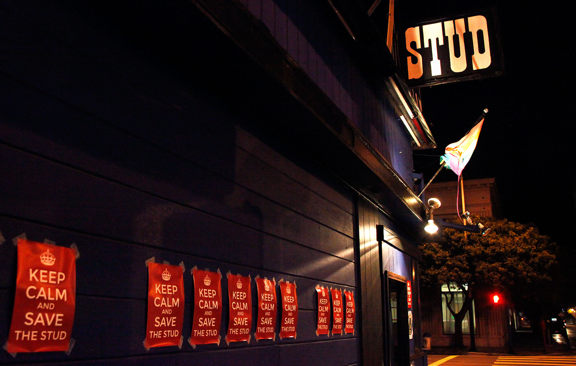 """Keep Calm and Save The Stud"" fliers, posted outside the historic SOMA district gay bar."