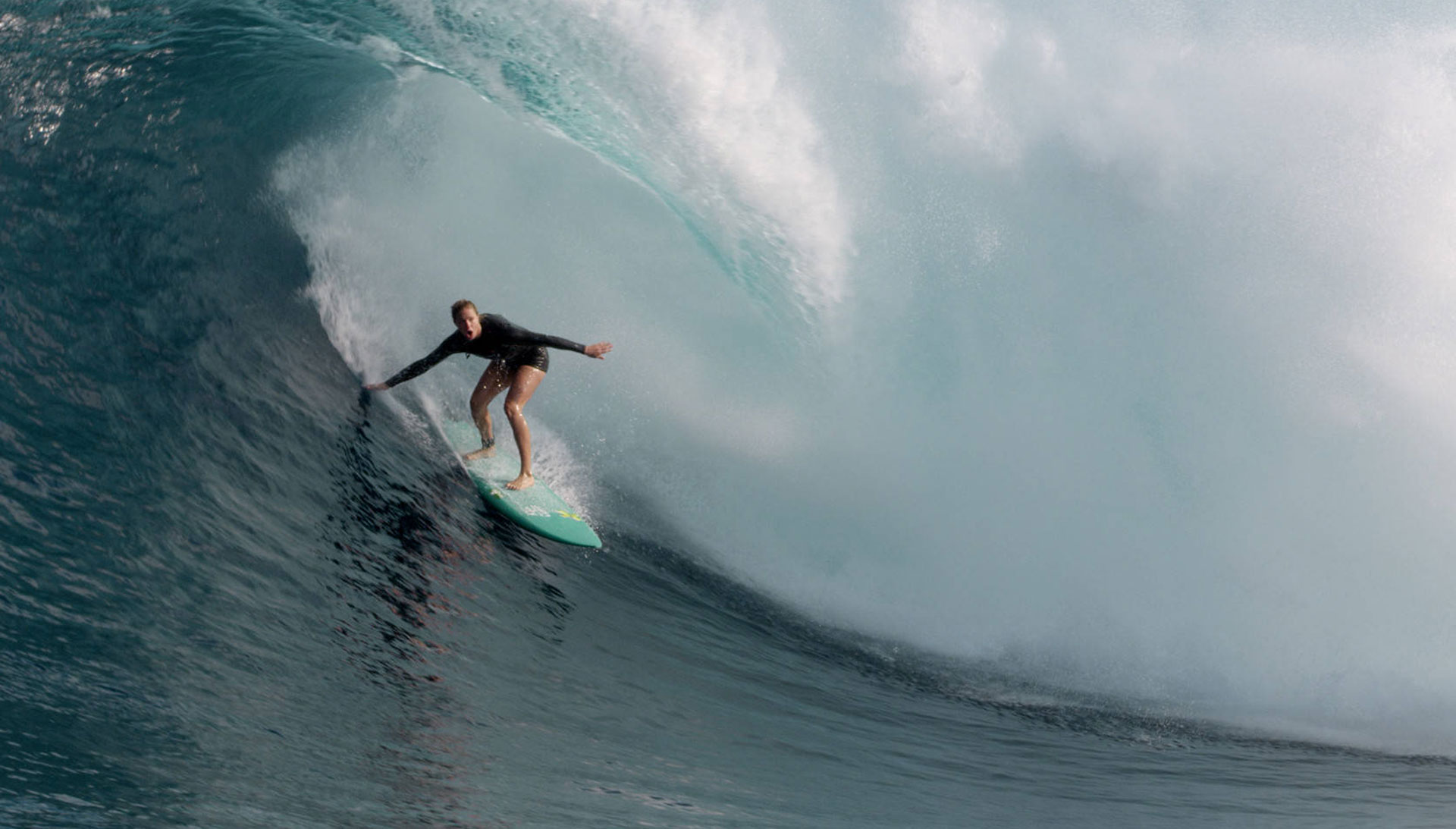 Paige Alms gets barreled at the Jaws surf break in Maui, Hawaii, a clip featured in the documentary 'The Wave I Ride.'