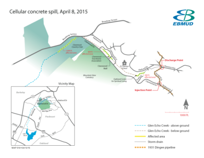 The East Bay Municipal Utility District's map of the areas affected by a 2015 concrete spill into Glen Echo Creek. (Click for larger image.)