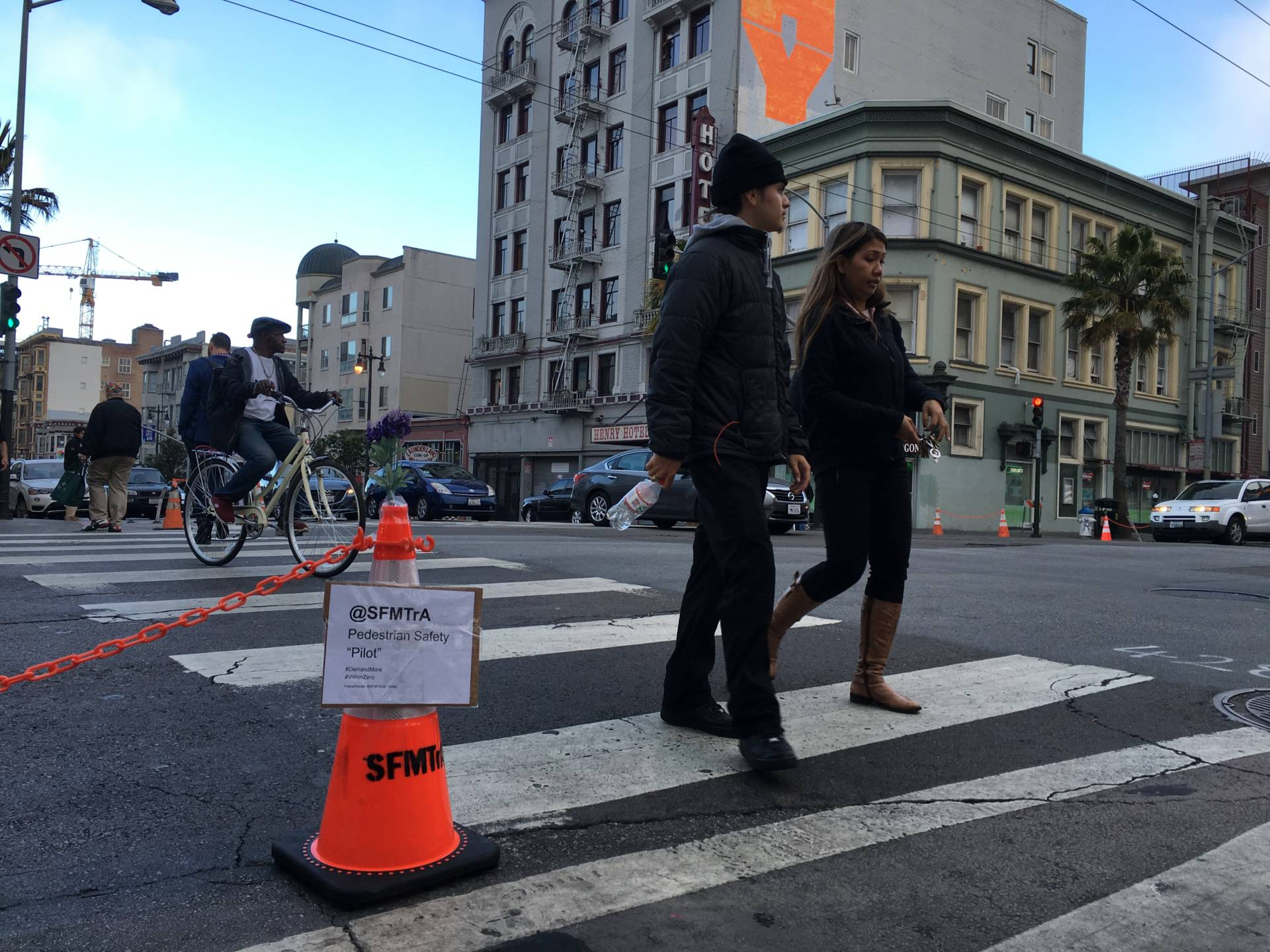 Bike activists used cones to spruce up safety features at the intersection of 6th and Mission streets in San Francisco.