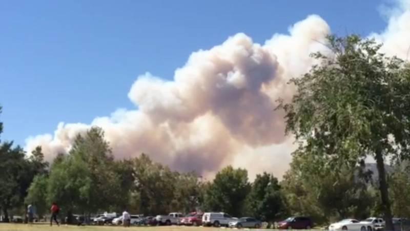 The Blue Cut Fire smoke plume viewed from Glen Helen Regional Park in Devore, California.