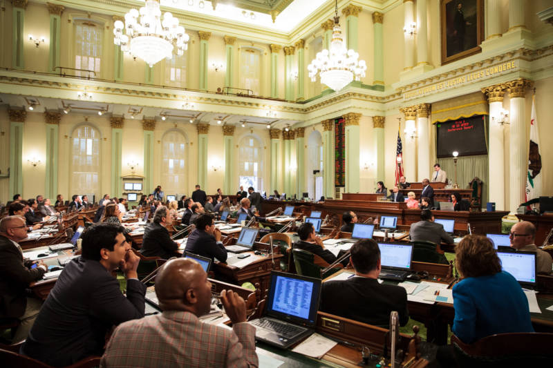 Members of the California Assembly consider a new state budget at the Capitol in Sacramento on June 15, 2015.