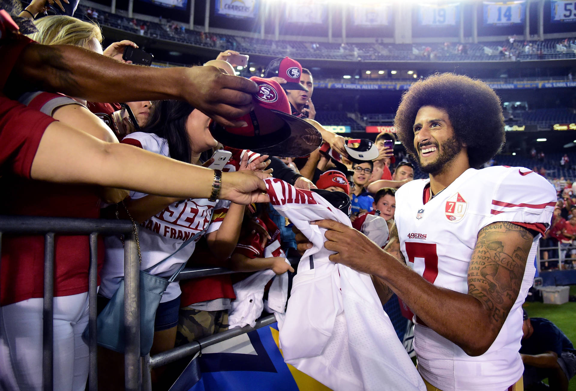 huge discount 6f3a8 383c3 He's No. 1: Colin Kaepernick Sits Down, and Jersey Sales ...