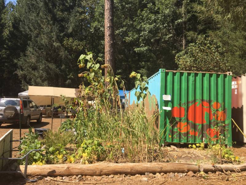 Seven retired schoolteachers set up this community garden and unofficial donation site in Cobb to connect Valley Fire victims with the items they most needed.