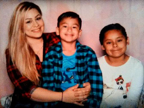 Lupe with her kids Louis, 6, and Kaylee, 8.