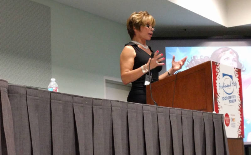 Michaela Mendelsohn, a trans businesswoman, speaks before a seminar at the Western Foodservice and Hospitality Expo at the L.A. Convention Center on August 30, 2016.