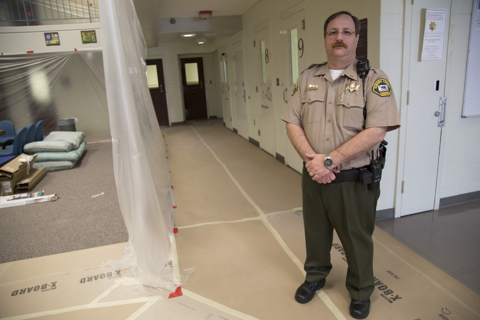 Lt. Mike Toby supervises Sonoma County Main Jail's three mental health units. He's standing in a unit being renovated to give inmates more outside of cell time.