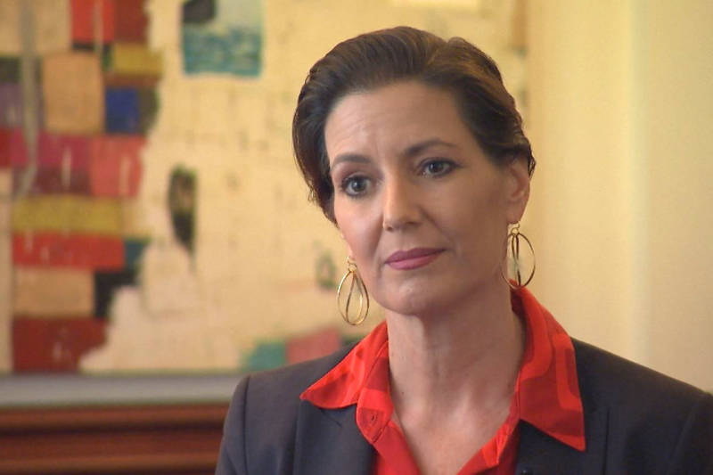 Oakland Mayor Libby Schaaf being interviewed on KQED Newsroom.