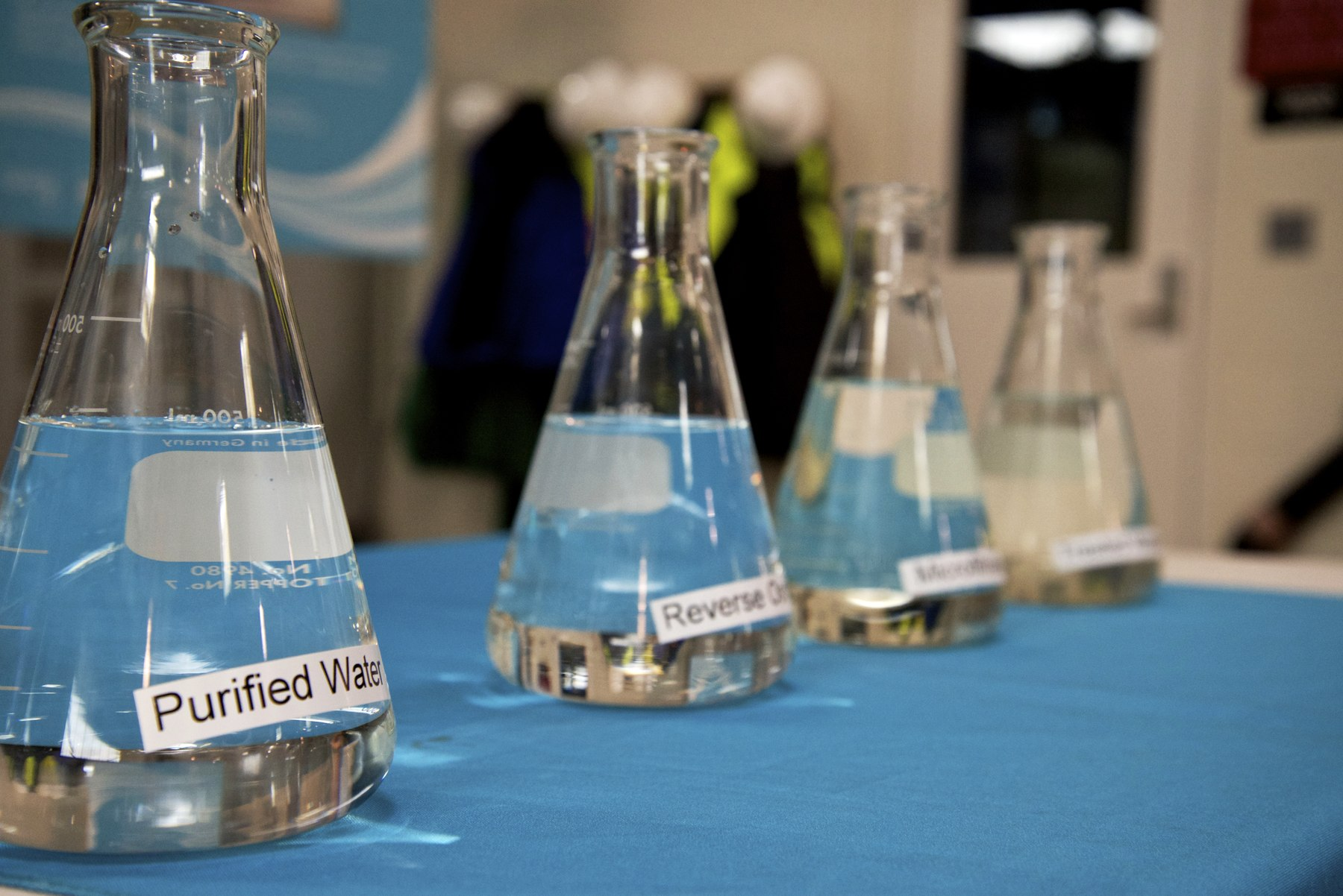 Samples of the water purification process at the Silicon Valley Advanced Water Purification Center in San Jose.