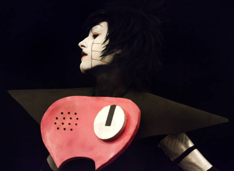 Mettaton, from the indie role playing video game Undertale, cosplayed on stage during the GX4 Cosplay Pageant.