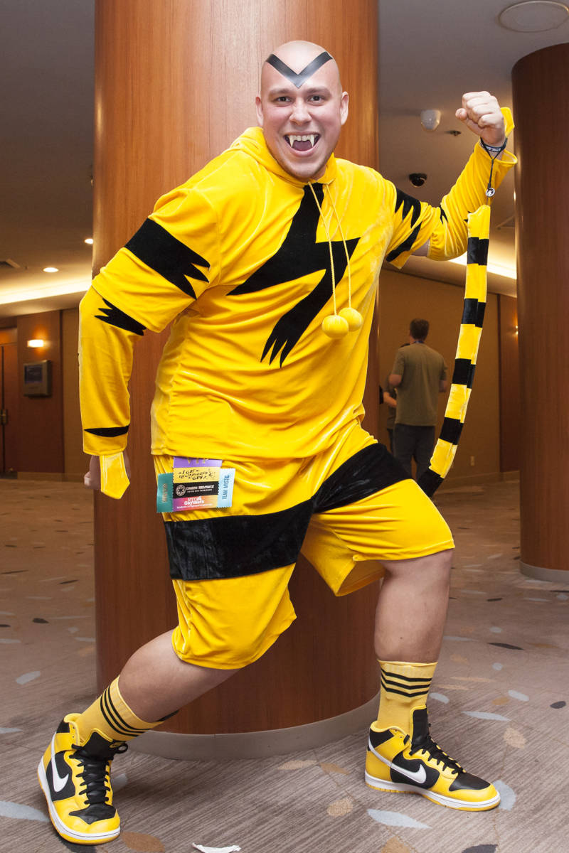 Michael Todd, cosplaying as Electabuzz, poses for a photo at GX4