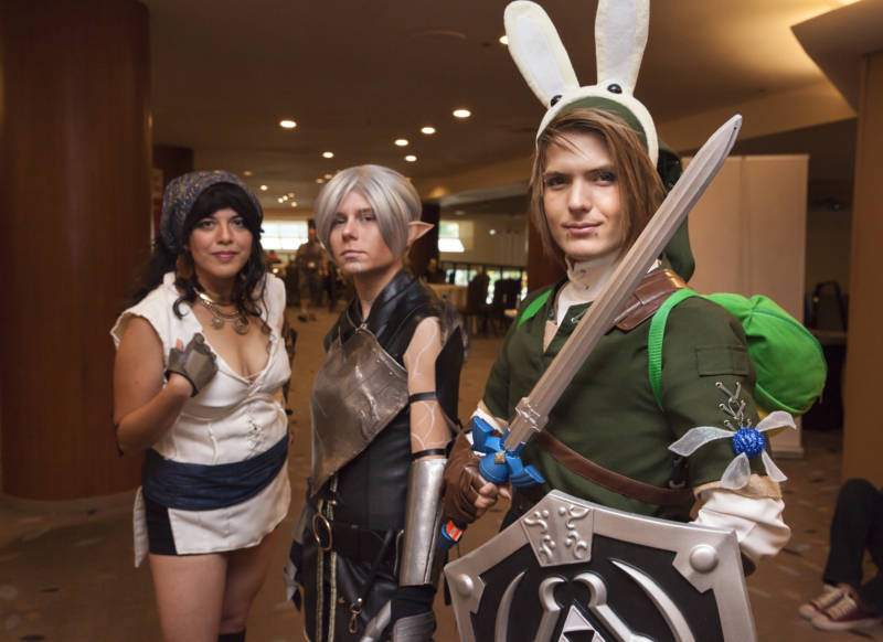 Gil Goldstein (right), Nikki Allamanno and Starla Zamora pose for a photo in their cosplay costumes.