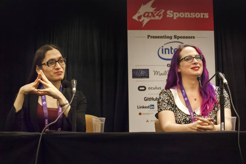 Widely published game critic Katherine Cross and writer, game developer, and graphic designer Crystal Frasier speak at a panel on finding identity through gaming.
