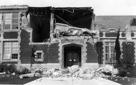 The ruins of John Muir School in Long Beach after an earthquake struck on March 10, 1933.
