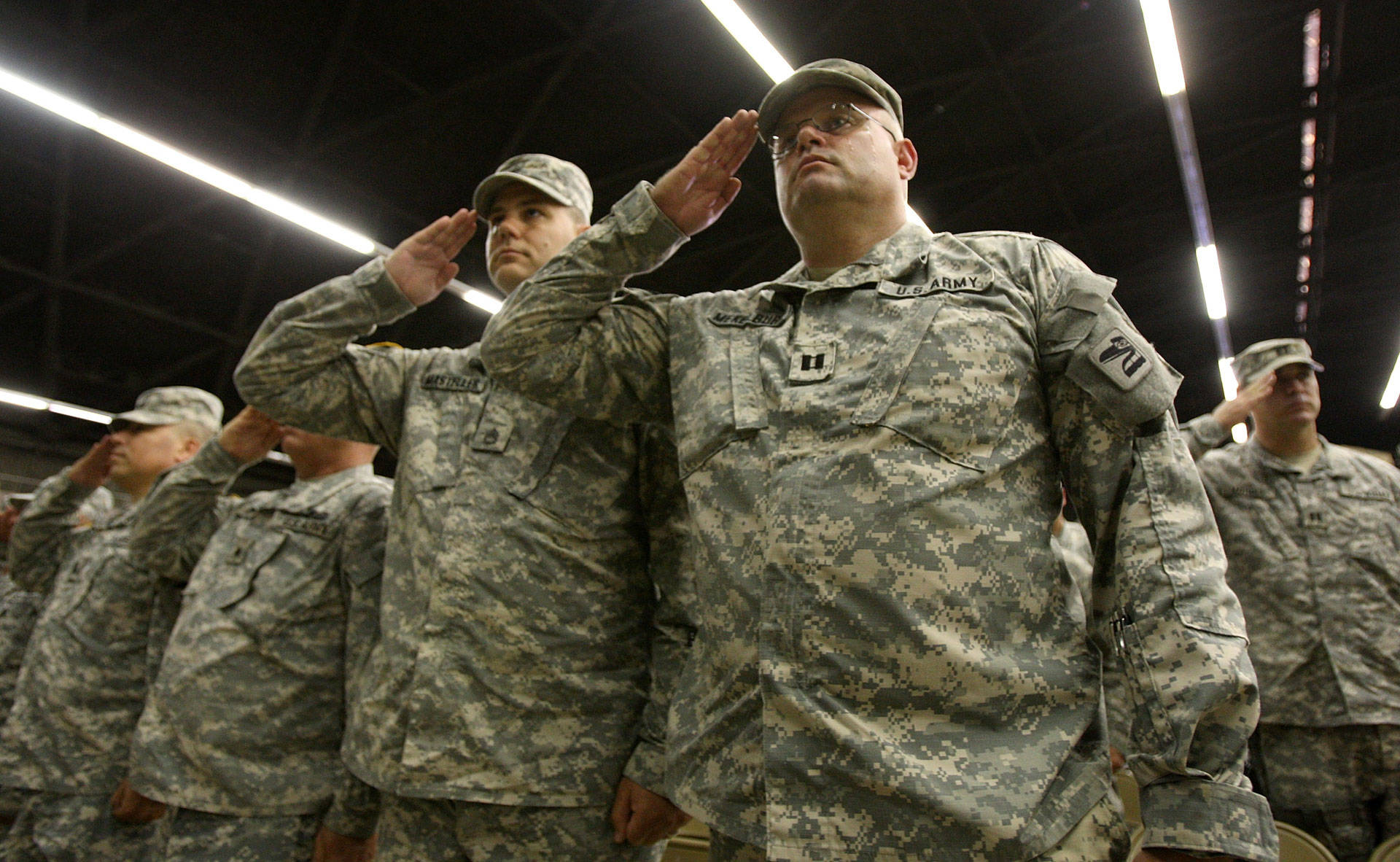 Soldiers attend a farewell ceremony for about 850 California National Guardsmen from the 1st Battalion on Aug. 22, 2008, in San Bernardino. The soldiers were on their way to a yearlong deployment to Iraq. David McNew/Getty Images