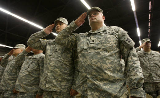 Soldiers attend a farewell ceremony for about 850 California National Guardsmen from the 1st Battalion on August 22, 2008 in San Bernardino. The soldiers were on their way to a year-long deployment to Iraq.